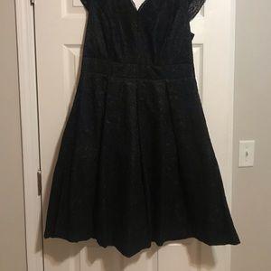 Black puffy lace dress